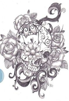 Mexican sugar skull tattoo linework, via Flickr.