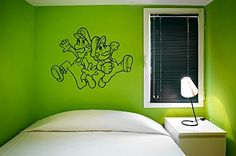 Mario and Luigi Silhouette Vinyl Wall Decal Sticker Graphic Measures 33 x 44 inches. Application instructions are included. Some decals may come in multiple pieces due to the size of the design. This