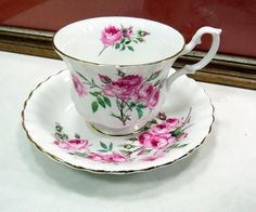 """VINTAGE ROYAL ALBERT PINK ROSE MONTROSE SHAPE 2 3/4"""" CUP AND SAUCER 1980-2000 in Pottery & Glass, Pottery & China, China & Dinnerware, Royal Albert 