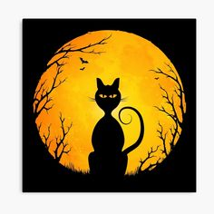 Symbolic Art, Harvest Moon, Spooky Halloween, Vector Art, Mystic, Digital Art, Symbols, Fantasy, Cats
