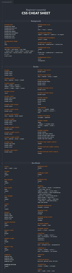 CSS cheat sheet containing backgrounds, borders, fonts, texts and many other categories. Whether you are a professional web developer or just starting out with CSS, this cheat sheet helps you to enhance your workflow. Web Design Tips, Web Design Trends, Tool Design, App Design, Web Design Layouts, Website Design Layout, Css Cheat Sheet, Cheat Sheets, Python Cheat Sheet