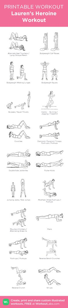 Lauren's Heroine Workout –illustrated exercise plan created at WorkoutLabs.com • Click for a printable PDF and to build your own #customworkout