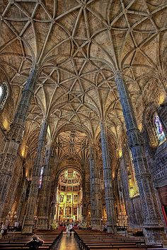 Carved Columns and endless Vaulting at Mosteiro do Jeronimos. Lisbon, Portugal #travel #europe #bucketlist @TravelRumors