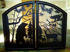 Custom #Fireplace Screen Featuring Bear, Deer, and Bobcat from NatureRails
