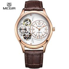 Luxury Quartz Watch Chronograph Function Mens Watches Genuine Leather Mens Military Wristwatch