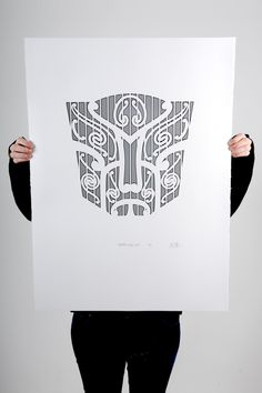 """""""Autobots, roll out!"""" Black screen print on 100% cotton 300gsm Pescia paper Paper size 56x76cm Edition of 10 and 1 artist proof"""