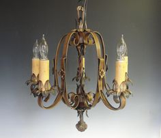 Antique Lighting, Free Shipping in US, Vintage Lighting, Antique Chandelier, Vintage Chandelier, Ceiling Light Fixture, Wrought Iron. $295.00, via Etsy.