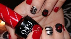 Valentine's Day Nail Design!  Acrylic nails with hand painted nail art with gel top coat.