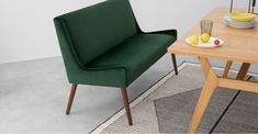 Higgs Upholstered Bench, Pine Green Velvet - Benches - Chairs | MADE.com Kitchen Chairs, Dining Chairs, Dining Room, Blue And Green Living Room, Upholstered Dining Bench, Chair Bench, French Decor, Green Velvet, New Homes