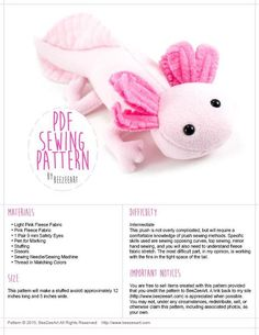 (9) Name: 'Sewing : Axolotl Plush Pattern