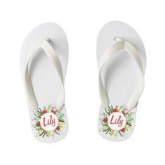 1d7e61d98 Personalized Custom Name Floral Wreath Flip Flops