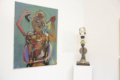"""""""MEOP of Gohar"""" painting by Gordon Skinner and """"Moon Spirit"""" ceramic totem by Rosalind Shaffer from their exhibition together for City Wide Open Studios in New Haven"""