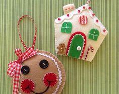 Navidad fieltro ornamentos juego de 2 hecho a mano fieltro