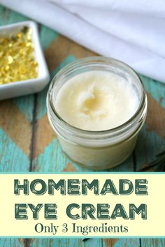The BEST Homemade Firming Eye Cream is so simple to make and only uses three non toxic ingredients!!