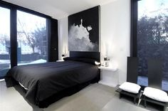 Modern Masculine Bedroom Design with Black Platform Bed Picture