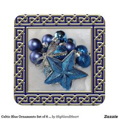Celtic Blue Ornaments Set of 6 Holiday Coasters
