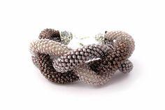 Brown Statement Bead Crochet Bracelet by EdoraJewels