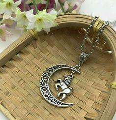 Unicorn and Moon Necklace Magical Fantasy Celtic Crescent Boho Celestial Jewelry #Handmade #Boho