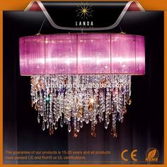 Colorful crystal chandelier and pendant light