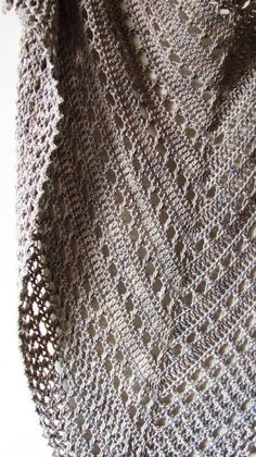 Best 12 Northern Sea is a triangular shape shawl crocheted from the top down. It starts from the eyelet rows and ends with a textured knitted-look border made of crossed stitches. Size is easily adjustable by skippingadding more repeats both in eyelet and Shawl Crochet, Col Crochet, Crochet Shawls And Wraps, Crochet Scarves, Crochet Clothes, Crochet Stitches, Lace Shawls, Ravelry Crochet, Knitting Patterns
