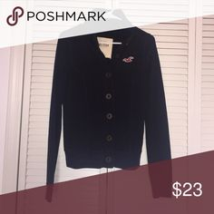 Navy blue button down sweater Navy blue, very comfortable and fitting! Also, in very good conditions Hollister Jackets & Coats