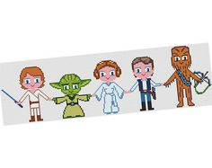 Luke Yoda Leia  Han Solo Chewbacca   Cross stitch by POWSTITCH