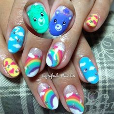 Pin for Later: 20 Cartoon-Inspired Nail Art Looks That Will Make You Feel Nostalgic Coming Up Care Bears
