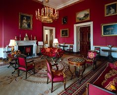 Henry Inman, Angelica Van Buren (on our left) and Gilbert Stuart, Dolley Madison (on our far upper right), The Red Room, White House