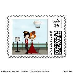 Steampunk Boy and Girl on a Seaside Promenade Postage Stamps