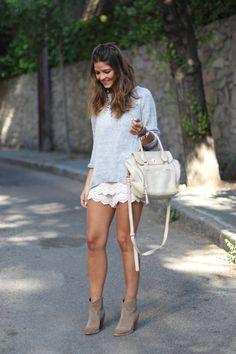 Buylevard White Crochet Culotte Shorts