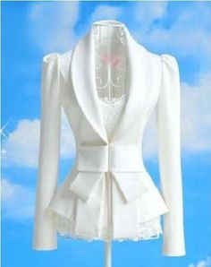 Stunning Fitted Tie Bow Blazer with Ruched Shoulders. This is a single breasted blazer with an inside lining that is also white, with four fastening clips on the front of the blazer designed with a lovely unique bow.  Suitable For Spring And Summer.  Material: Cotton Blends Approximate Size: To Fit (M), (L) UK 10,12,14 Approximate Length: 61 cms, Sleeves 62cms, Bust 42cms. Main Colour: White http://www.hubalhaya.co.uk/#!belts/c1m4q