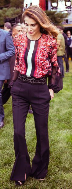 Queen Rania in Jordan in Giambattistia Valli top - 2015 Global Citizen Festival, Central Park, September 26, 2015