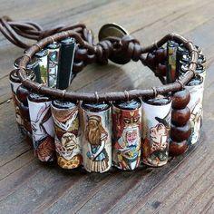 Alice in Wonderland Cuff Bracelet - Alice in Wonderland Wood Beads, Brown Leather Bracelet on Etsy, Sold