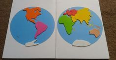 Puzzle Planisphère à la Montessori, réalisé en papi er mousse. Documents téléchargeables ici: (Imprimer une copie b...