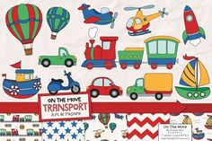 Transportation Clipart & Patterns by Amanda Ilkov on @creativemarket