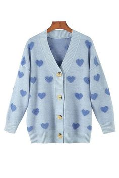 Details: Material: Acrylic SIZE(IN) Shoulder Bust Sleeve Length One Size 22.8 42.5 15.0 22.8 Cardigan Outfits, Blue Cardigan, Cardigan Shirt, Cute Cardigans, Cute Sweaters, Knit Jacket, Holiday Outfits, Aesthetic Clothes, Cool Outfits