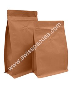 We offer 8 oz Kraft Block / Flat Bottom with zipper and VALVE that an environmentally friendly packaging solution as they can be recycled.