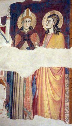 Maestro di San Martino a Mensola (attr.) - Madonna in trono tra angeli, santi e il committente - affresco - 1387 - Museo dell'Opera di Santa Croce, Firenze