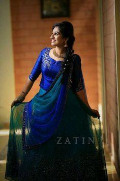 Whatsapp on 9496803123 for customisation Half Saree Lehenga, Saree Dress, Lehenga Gown, Anarkali, Kerala Engagement Dress, Engagement Gowns, Dresses Kids Girl, Girls Party Dress, Long Skirt Top Designs