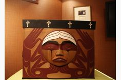 The bentwood box is a ceremonial piece made for the Truth and Reconciliation Commission by Luke Marston. The commission took it to each of its seven national events and people were invited to put statements of reconciliation inside