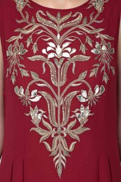 Anita Dongre presents Red floral embroidered high low tunic available only at Pernia's Pop Up Shop. Zardozi Embroidery, Hand Work Embroidery, Indian Embroidery, Embroidery Suits, Embroidery Fashion, Hand Embroidery Designs, Beaded Embroidery, Embroidery Stitches, Embroidery Patterns