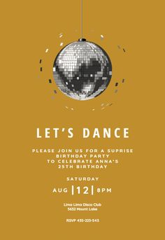 Disco ball invitation template. Customize, add text and photos. Print, download, send online for free!  #invitations #printable #diy #template #party