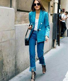 Blue street style // fringe
