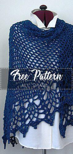 All Shawl – Pattern Free – Easy Crochet Crochet Prayer Shawls, Crochet Shawl Free, Crochet Headband Pattern, Crochet Shawls And Wraps, Easy Crochet, Knit Crochet, Irish Crochet, Lace Shawls, Crochet Scarves