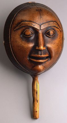 unknown Haida artist (Haida), Rattle, ca. 1850, maple wood and leather  Portland Art Museum