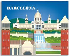 Gallery wrapped canvas, gicele art prints, of Barcelona Spain comes ready to hang or frame. Made for designers art and gift buyers worldwide.