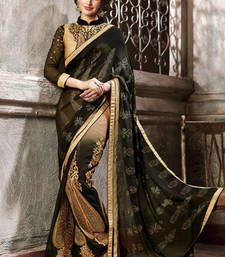 Buy Black  and  beige embroidered georgette saree with blouse wedding-saree online