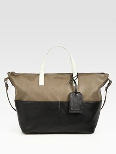 Neutral colorblock leather with top zip closure