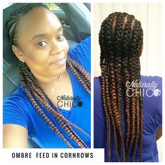 Ombre Feed in Cornrows  Hair used Janet Collection jumbo braid  Color OE2T1B/30