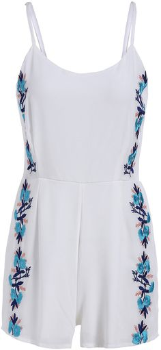 $18, White and Blue Embroidered Playsuit: Spaghetti Strap Embroidered Green Romper. Sold by Romwe. Click for more info: https://lookastic.com/women/shop_items/308997/redirect